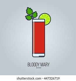 glass of bloody mary cocktail vector icon