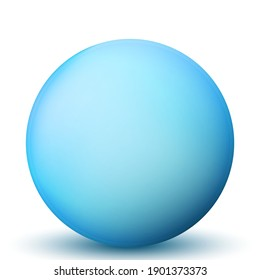 Glass blue ball or precious pearl. Glossy realistic ball, 3D abstract vector illustration highlighted on a white background. Big metal bubble with shadow