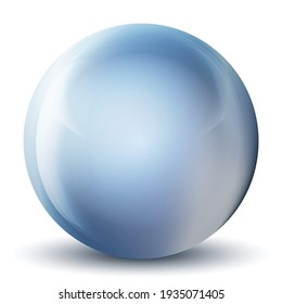 Glass blue ball or precious pearl. Glossy realistic ball, 3D abstract vector illustration highlighted on a white background. Big metal bubble with shadow.