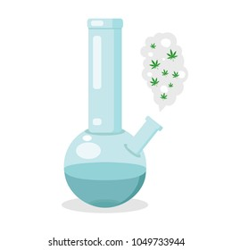 Glass bong for smoking. Plastic blue bong with green cannabis. Modern flat style vector illustration icons.  Isolated on white background. Apparatus for smoke weed with clouds.