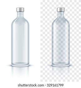 Glass bottle of alcohol. Realistic vector illustration