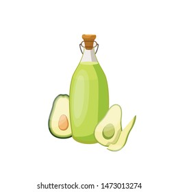 Glass bottle of avocado oil. Organic product. Natural cooking ingredient. Bottle of avocado oil and avocado. Vector illustration.