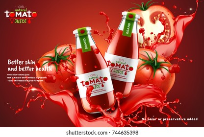 Tomato juice ads, glass bottle filled with fresh tomato juice with splashing juice isolated on red background in 3d illustration