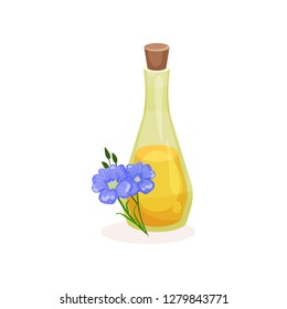Glass bottle of linseed oil and blue flax flowers. Organic product. Natural cooking ingredient. Flat vector icon