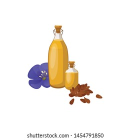 Glass bottle of linseed oil and blue flax flower. Organic product. Natural cooking ingredient. Bottle of Flax oil and seeds Flax. Vector illustration.
