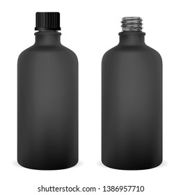 Glass Bottle. Medical Vial Template. Cosmetic Can. Black Pharmaceutical Flacon Blank, Isolated. Black Supplement Jar Illustration. Serum Packaging Concept. Pharmacy Syrup Flask.