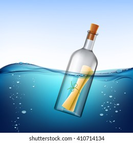Glass bottle with message, floats in the water. Stock vector illustration.