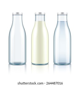 Glass bottle with milk, water and empty isolated on white photo-realistic vector illustration