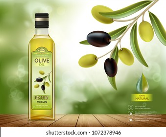 Glass bottle with oil. Olives with leaves on a branch. Package label design. Healthy vegetarian product. Stock vector illustration.