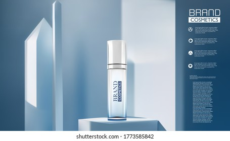 glass  bottle with original essence isolated on blue background. Beautiful flyer or banner for cosmetic ads. Blue cosmetic premium dropper. Makeup products brand. 3D illustration.