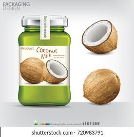 Glass bottle packaging for coconut jam design.coconut vector