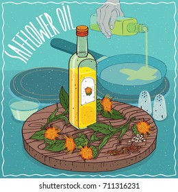 Glass bottle of Safflower seed oil and flowers of Carthamus tinctorius plant. Hand pouring oil on frying pan. Natural vegetable oil used for frying food. Vector illustration