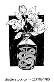 Glass bottle with a snake inside and flowers. Vector hand drawn inked illustration isolated on white background. T-Shirt Design and Printing, clothes, bags, posters, invitations, cards, tattoo etc.