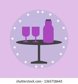 Glass, Bottle, Table, Water Glass, Illustration - Vector