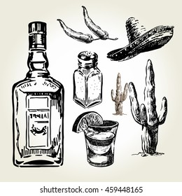 Glass and bottle of tequila. Sombrero, salt, pepper, cactus and lime. Hand drawn sketch set of alcoholic cocktails. Vector illustration