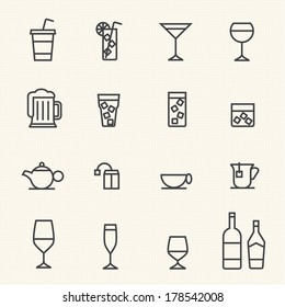 Glass and bottle vector stroked icons.Stroke path layer included.