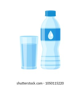 Glass and Bottle of water isolated vector illustration on white background