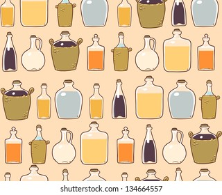 glass bottles with alcohol drink. seamless pattern