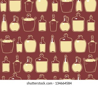 glass bottles with a home brew alcohol drink. seamless pattern