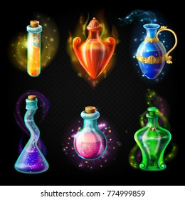 Glass bottles with a magical potion, sealed jars of different shape with sparkling multi-colored elixir, isolated on a black background. Vector game icons, elements for game design