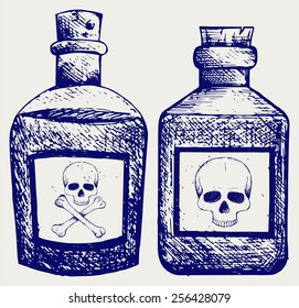 Glass bottles of poison. Doodle style