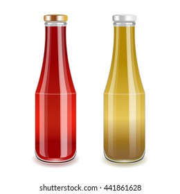 Glass bottles with red and yellow liquid. Tomato sauce or juice, mustard or banana drink. Realistic vector illustration.