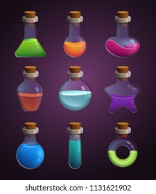 Glass bottles with various liquids. Pictures in cartoon style. Bottle elixir of set, potion magic flask illustration