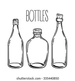 Glass Bottles. Vector illustration.Ink on aged card paper. Kitchen objects doodle style sketch, Black and white drawing isolated on white. Design for coloring book page for adults and kids.
