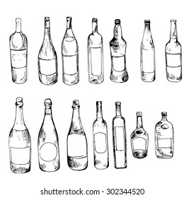glass bottles, vector set of alcoholic drinks, ink drawing illustration, isolated elements