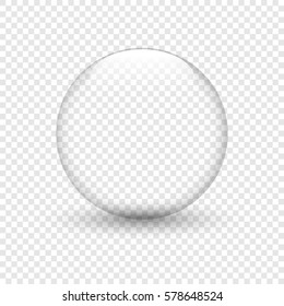 Glass bowl with shadow on isolated background. Water drop. Glass sphere. Bubble. Vector illustration