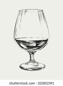 Glass of Brandy Vector Drawing Illustration Drinks