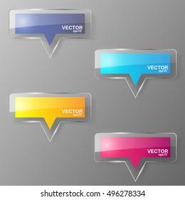 Glass bubble speech set. Vector illustration.