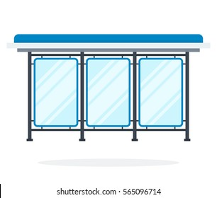 Glass bus stop vector flat material design object. Isolated illustration on white background.
