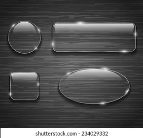 Glass buttons on brushed metallic background. Vector illustration