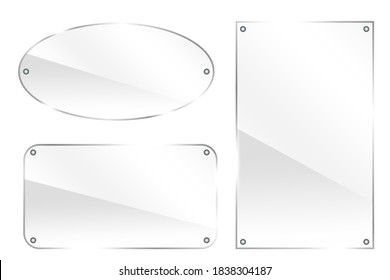 Glass buttons. Plexiglass circle and rectangles on a white background. Glossy shapes. Vector illustration.