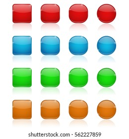 Glass buttons. Red, blue, green, orange web icons. Vector illustration on white background.