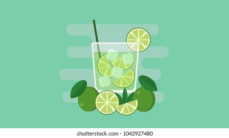Glass of caipirinha cocktail with straw and sliced lemons. Flat vector illustration.
