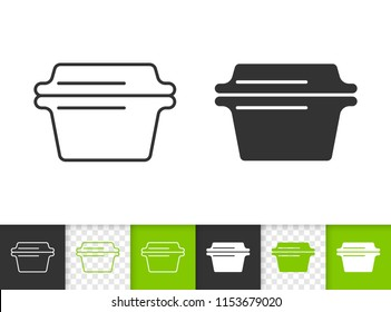 Glass casserole black linear and silhouette icons. Thin line sign of cookware. Baking pan outline pictogram isolated on white, transparent. Vector Icon shape. Glass Casserole simple symbol closeup