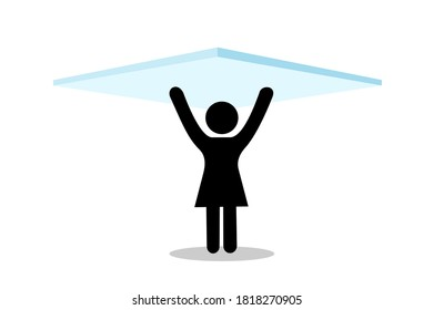 Glass ceiling - woman and femaile is under, bellow and underneath invisible barrier.