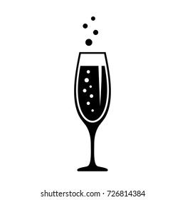 Glass of champagne, celebration concept icon on white background