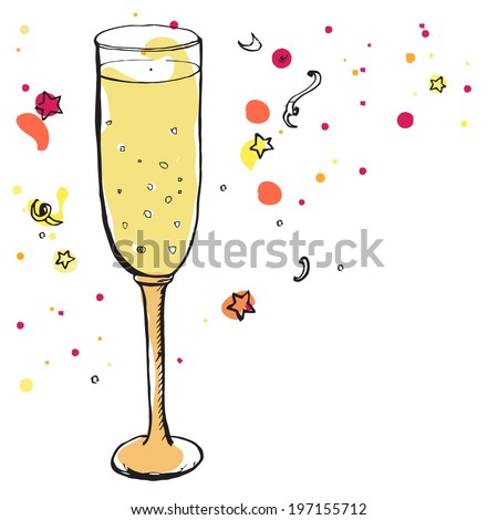 Glass Champagne Party Decorations Background Vector Stock Vector