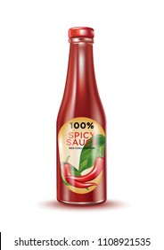 Glass chilli pepper bottle isolated on white background, Vector realistic 3D illustration, of free space for your copy and brand.