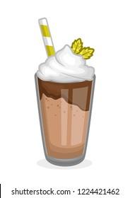 glass of chocolate milkshake object stock vector illustration