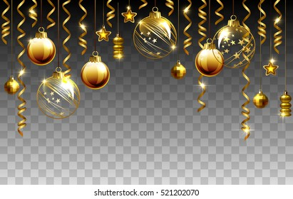 Glass Christmas evening balls on a transparent background. New year gold decorations with garlands. Objects for any background design.