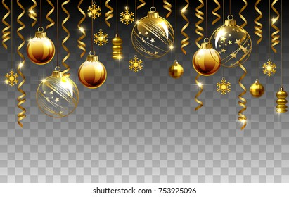 Glass Christmas evening balls on a transparent background. New year gold decorations with garlands. Vector objects for any background design.