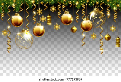 Glass Christmas evening balls on a transparent background.
