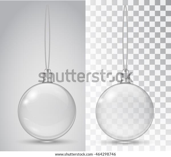 Glass Christmas toy on a transparent background. Stocking Christmas decorations. Transparent vektor object for design, mocap. Vector illustration. 10 EPS