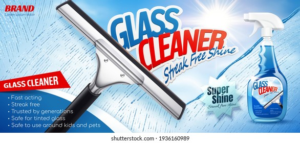 Glass cleaner ad in 3D illustration, Cleaning glass with a squeegee with bright sunshine. Spray bottle package design.