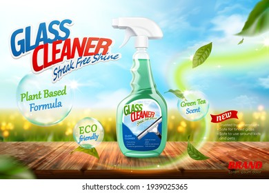 Glass cleaner ads, Package on wooden table with green tea leaves element flying on a farm background in 3d illustration.