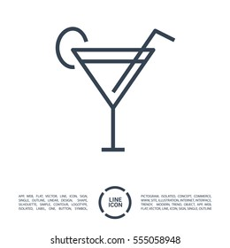 Glass cocktail isolated linear icon for websites minimalistic flat design